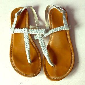 Silver glitter open toe sandals